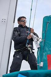 Yassir Al Rahbi (OMA) prepares the main. Oman Sail's MOD70 Musandam races in the Eckernförde race at  Kiel week 2014, 21-06-2014, Kiel - Germany.