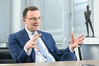 05 MAY 2021, BERLIN/GERMANY:<br /> Jens Spahn, CDU, Bundesgesundheitsminister, wahrend einem Interview, in seinem Buero, Bundesministerium fur Gesundheit<br /> IMAGE: 202105005-01-006