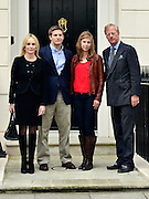 © Licensed to London News Pictures. 15/04/2013. London, UK Sarah Thatcher, Michael Thatcher, Amanda Thatcher and Sir Mark Thatcher pose on the steps of Baroness Thatcher's former home in London. Photo credit : Stephen Simpson/LNP