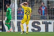 Frustration for Burton Albion midfielder Stephen Quinn as his shot goes high over the bar during the The FA Cup 1st round match between Scunthorpe United and Burton Albion at Glanford Park, Scunthorpe, England on 10 November 2018.