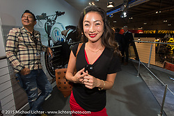 "Hiromi ""Gypsy"" Kawakita of Hot Dock and Ken Kenji Nagai of Ken's Factory, both from Japan at EICMA, the largest international motorcycle exhibition in the world. Milan, Italy. November 17, 2015.  Photography ©2015 Michael Lichter."