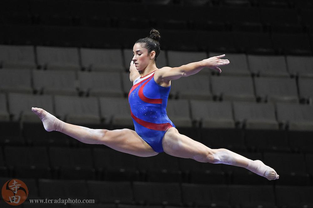 July 7, 2016; San Jose, CA, USA; Aly Raisman, Needham, MA, during the balance beam in the women's gymnastics U.S. Olympic team trials training at SAP Center at San Jose.
