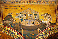 Byzantine mosaics in the Cathedral of Monreale - Noah letting the animals out - Palermo - Sicily Pictures, photos, images & fotos photography .<br /> <br /> If you prefer you can also buy from our ALAMY PHOTO LIBRARY  Collection visit : https://www.alamy.com/portfolio/paul-williams-funkystock/monrealeduomomosaics.html. Refine search by adding subject etc  into the LOWER SEARCH WITHIN GALLERY box. <br /> <br /> Visit our BYZANTINE MOSAIC PHOTO COLLECTION for more   photos  to download or buy as prints https://funkystock.photoshelter.com/gallery-collection/Roman-Byzantine-Art-Artefacts-Antiquities-Historic-Sites-Pictures-Images-of/C0000lW_87AclrOk