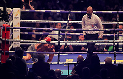 Wladimir Klitschko after being knocked down by Anthony Joshua during their IBF, WBA and IBO Heavyweight World Title bout at Wembley Stadium, London.