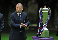 Rugby Union - 2018 Natwest Six Nations Launch Press Conference - Syon Park Hilton<br /> <br /> England coach Eddie Jones and the Nat West Trophy.<br /> <br /> COLORSPORT/ANDREW COWIE