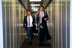 DUBLIN, REPUBLIC OF IRELAND - Thursday, March 23, 2017: Wales' manager Chris Coleman and assistant manager Osian Roberts arrive at Dublin Airport ahead of the 2018 FIFA World Cup Qualifying Group D match against Republic of Ireland. (Pic by David Rawcliffe/Propaganda)