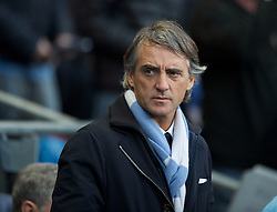 MANCHESTER, ENGLAND - Monday, April 30, 2012: Manchester City manager Roberto Mancini during the Premiership match at the City of Manchester Stadium. (Pic by Chris Brunskill/Propaganda)