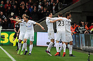 Swansea city players celebrate with goal scorer Fernando Llorente (far right) after he scores his Swansea's 3rd goal. Premier league match, Swansea city v Burnley at the Liberty Stadium in Swansea, South Wales on Saturday 4th March 2017.<br /> pic by  Carl Robertson, Andrew Orchard sports photography.