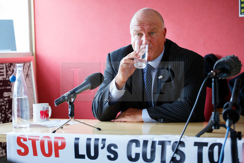 © licensed to London News Pictures. London, UK 03/02/2014. Bob Crow, General Secretary of the National Union of Rail answering media's questions at TUC HQ in central London ahead of two planned 48-hour London Tube strikes. Photo credit: Tolga Akmen/LNP