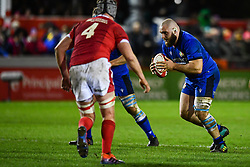 Filippo Alongi of Italy in action <br /> <br /> Photographer Craig Thomas/Replay Images<br /> <br /> U20 Six Nations - Wales v Italy  - Friday 31st January 2020 - Stadiwm Zip World (Parc Eirias) - Colwyn Bay<br /> <br /> World Copyright © Replay Images . All rights reserved. info@replayimages.co.uk - http://replayimages.co.uk