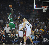 Kevin Garnett shoots over Ben Wallace and Zydrunas Ilgauskas..The Cleveland Cavaliers defeated the Boston Celtics 108-84 in Game 3 of the Eastern Conference Semi-Finals at Quicken Loans Arena in Cleveland.