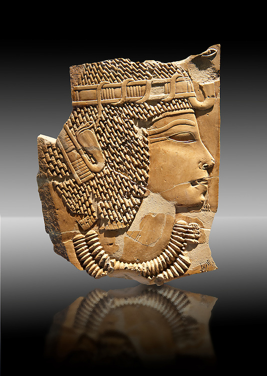 Ancient Egyptian tomb relief sculpture of King Amenhotep III from the grave of Chaemhat, Thebes West. 18th Dynasty 1360 BC. Neues Museum Berlin AM 14503. .<br /> <br /> If you prefer to buy from our ALAMY PHOTO LIBRARY  Collection visit : https://www.alamy.com/portfolio/paul-williams-funkystock/ancient-egyptian-art-artefacts.html  . Type -   Neues    - into the LOWER SEARCH WITHIN GALLERY box. Refine search by adding background colour, subject etc<br /> <br /> Visit our ANCIENT WORLD PHOTO COLLECTIONS for more photos to download or buy as wall art prints https://funkystock.photoshelter.com/gallery-collection/Ancient-World-Art-Antiquities-Historic-Sites-Pictures-Images-of/C00006u26yqSkDOM