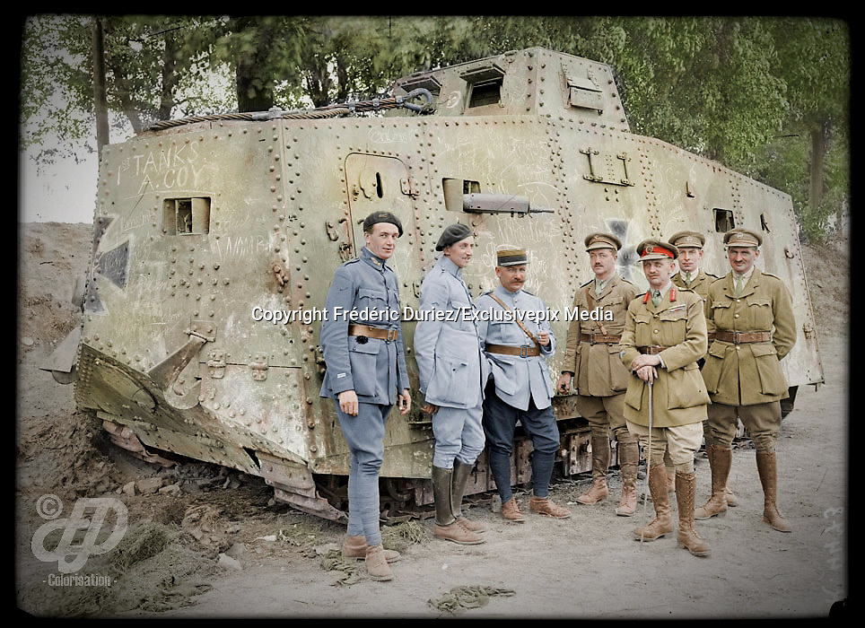 Colorized photographs soldiers from the World War One<br /> <br /> With his impressive colorized photographs of the World War One, Frédéric Duriez gives us a new look at the conflict that ravaged the world between 1914 and 1918, revealing the difficult daily life of the French soldiers. <br /> <br /> Photo Shows:French and British soldiers standing around a German A7V tank captured at Villers-Brettoneux, May 1918.<br /> ©Frédéric Duriez/Exclusivepix Media
