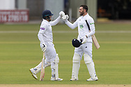 200 - James Vince  is congratulated by Liam Dawson on reaching 200 during Day 2 of the LV= Insurance County Championship match between Leicestershire County Cricket Club and Hampshire County Cricket Club at the Uptonsteel County Ground, Leicester, United Kingdom on 9 April 2021.