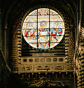 Stained glass window depicting the Last Supper, Duomo Santa Maria dell' Assunta Cathedral, Siena, Tuscany, Italy