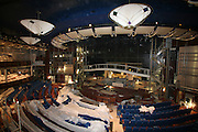 Oasis of the Seas at the shipyard in Turku, Finland where she is being built..Photos show Royal Caribbean's latest  ship 2 months before completion. .The Theatre.