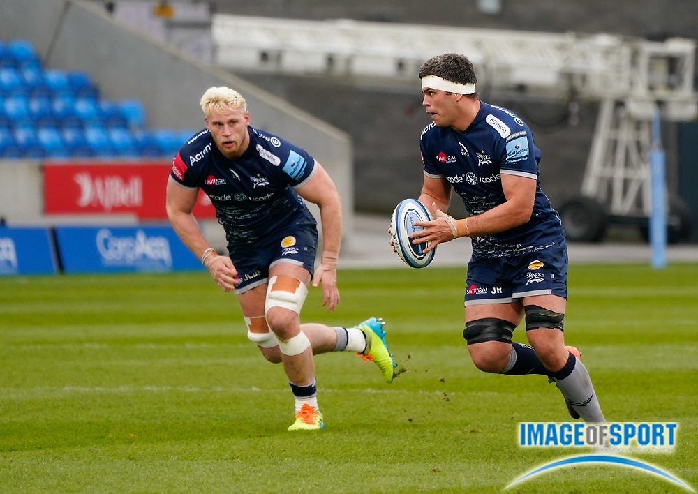 Sale Sharks flanker Jono Ross makes a break during a Gallagher Premiership Round 14 Rugby Union match, Sunday, Mar 21, 2021, in Eccles, United Kingdom. (Steve Flynn/Image of Sport)