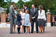 King Felipe VI of Spain, Princess Sofia, Paloma Rocasolano, Crown Princess Leonor, King Juan Carlos of Spain, Queen Sofia of Spain, Konstantin of Bulgary arrived Asuncion de Nuestra Senora Church for the First Communion of Princess Sofia on May 17, 2017 in Aravaca near of Madrid.