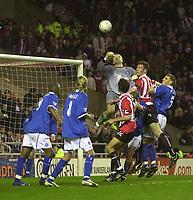 Photo. Glyn Thomas.<br /> Sunderland v Birmingham. FA Cup fifth round.<br /> Stadium of Light, Sunderland. 14/02/2004.<br /> Birmingham keeper Maik Taylor (C) makes another superb save to deny Sunderland victory.