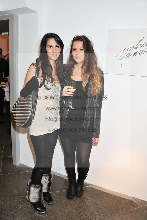 Left to right, AMANDA SALVESEN and CATHERINE LAURENCE at a private view of jewellery by Eugenie Nairchos and Noor Fares entitled Galactic Garden held at Shizaru Mayfair, 112 Mount Street, London on 5th December 2012.