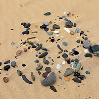 Europe, Ireland, Brittas Bay. Pebbles on the sands of Brittas Bay, County Wicklow.