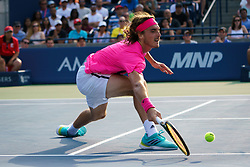 August 12, 2018 - Toronto, ON, U.S. - TORONTO, ON - AUGUST 12: Stefanos Tsitsipas (GRE) returns the ball during the Rogers Cup tennis tournament Final on August 12, 2018, at Aviva Centre in Toronto, ON, Canada. (Photograph by Julian Avram/Icon Sportswire) (Credit Image: © Julian Avram/Icon SMI via ZUMA Press)