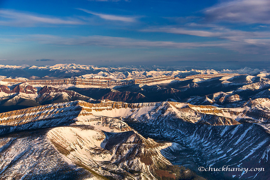 Aerial of the Rocky Mountains in the Bob Marshall Wilderness of Montana, USA
