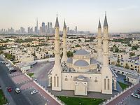 Aerial view of Al Farooq Omar Bin Al Khattam Mosque in Dubai, UAE.