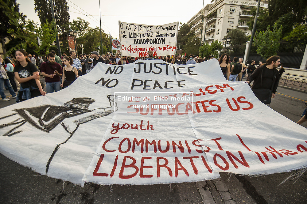 Pictured: <br /> Athenians took to the streets to protest next to the US embassy in Athens over the police killing of George Floyd in the USA, on June 3, 2020. - The United States has erupted into days and nights of protests, violence, and looting, following the death of George Floyd after he was detained and held down with a knee to his neck, dying shortly after.<br /> <br /> Dimitris Lampropoulos    EEm 3 June 2020