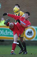 Photo: Pete Lorence.<br />Boston United v Swindon Town. Coca Cola League 2. 20/01/2007.<br />Lee Peacock slams the ball in on goal.