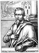 Michael Servetus (1511?-1553) Spanish physician and theologian. Portrait from biography published 1727. Servetus escaped the Catholic Inquisitor General at Lyon, but was tried and found guilty of heresy by the Calvinists and burned alive in Geneva. Woodcut.