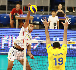 June 16, 2018 - Varna, Bulgaria - from left Stephen BOYER (France), Mauricio Borges ALMEIDA SILVA (Brazil), .mens Volleyball Nations League,week 4, Brazil vs Francel, Palace of culture and sport, Varna/Bulgaria, June 16, 2018, the fourth of 5 weekends of the preliminary lap in the new established mens Volleyball Nationas League takes place in Varna/Bulgaria. (Credit Image: © Wolfgang Fehrmann via ZUMA Wire)