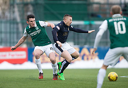 Hibernian's John McGinn and Falkirk's John Baird. <br /> Falkirk 1 v 1 Hibernian, Scottish Championship game played 17/1/2015 at The Falkirk Stadium.