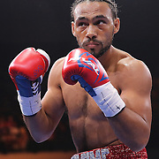 Keith Thurman is seen during his fight against Luis Collazo at the Premier Boxing Champions boxing match for the WBA Welterweight title on ESPN at the USF Sun Dome, on Saturday, July 11, 2015 in Tampa, Florida.  Thurman won the bout when the corner of Collazo stopped the fight at the beginning of the eighth round. (AP Photo/Alex Menendez)
