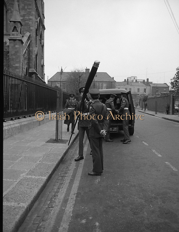 Remembrance Day Service.1983.13.11.1983.11.13.1983.13th November 1983..A remembrance service was held in St Patrick's Cathederal, Dublin,(Poppy Day) to commerate the Irish Fallen who died  whilst on service with the British Army in the two World Wars..Members of The Irish Army arriving to take part in the remembrance ceremony.