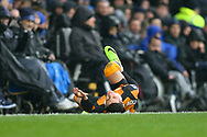 Omar Elabdellaoui of Hull City lies injured on the ground. Premier league match, Everton v Hull city at Goodison Park in Liverpool, Merseyside on Saturday 18th March 2017.<br /> pic by Chris Stading, Andrew Orchard sports photography.