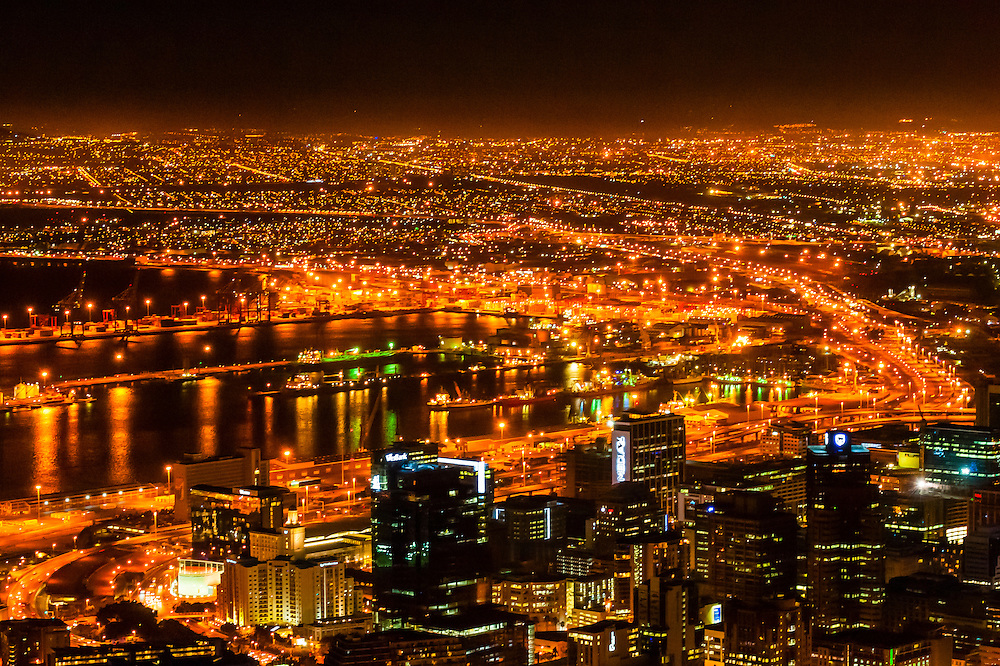 Central Business District and Table Bay Harbor, Cape Town, South Africa.
