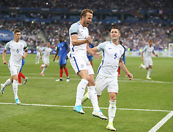 13 June 2017 International Football Friendly Match - France v England :<br /> Harry Kane celebrates after scoring his second goal for England, with Gary Cahill.<br /> Photo: Mark Leech.