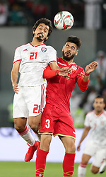 ABU DHABI, Jan. 6, 2019  Khalfan Mubarak Alshamsi (L) of the United Arab Emirates vies for a header against Bahrain's Waleed Mohamed Alhayam.    during the opening match of the AFC Asian Cup UAE 2019 in Abu Dhabi, the United Arab Emirates (UAE), on Jan. 5, 2019. The match ended in a 1-1 draw. (Credit Image: © Lg/Xinhua via ZUMA Wire)