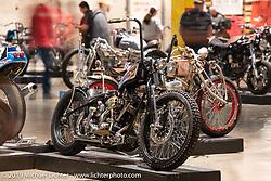 Shadetree Fabrication's Kyle Shorey's Big Money 1981 Harley-Davidson Shovelhead with wood inlays at the Handbuilt Show. Austin, TX. USA. Friday April 20, 2018. Photography ©2018 Michael Lichter.