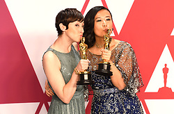 """Becky Neiman-Cobb and Domee Shi, winners of the Best Animated Short Film Awards for """"Bao"""" at the 91st Annual Academy Awards (Oscars) presented by the Academy of Motion Picture Arts and Sciences.<br /> (Hollywood, CA, USA)"""