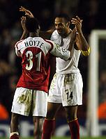 Photo: Javier Garcia/Back Page Images Mobile +447887 794393 Arsenal v Rosenborg, UEFA Champions League 07/12/04, Highbury<br />Thierry Henry celebrates at full time with Justin Hoyte
