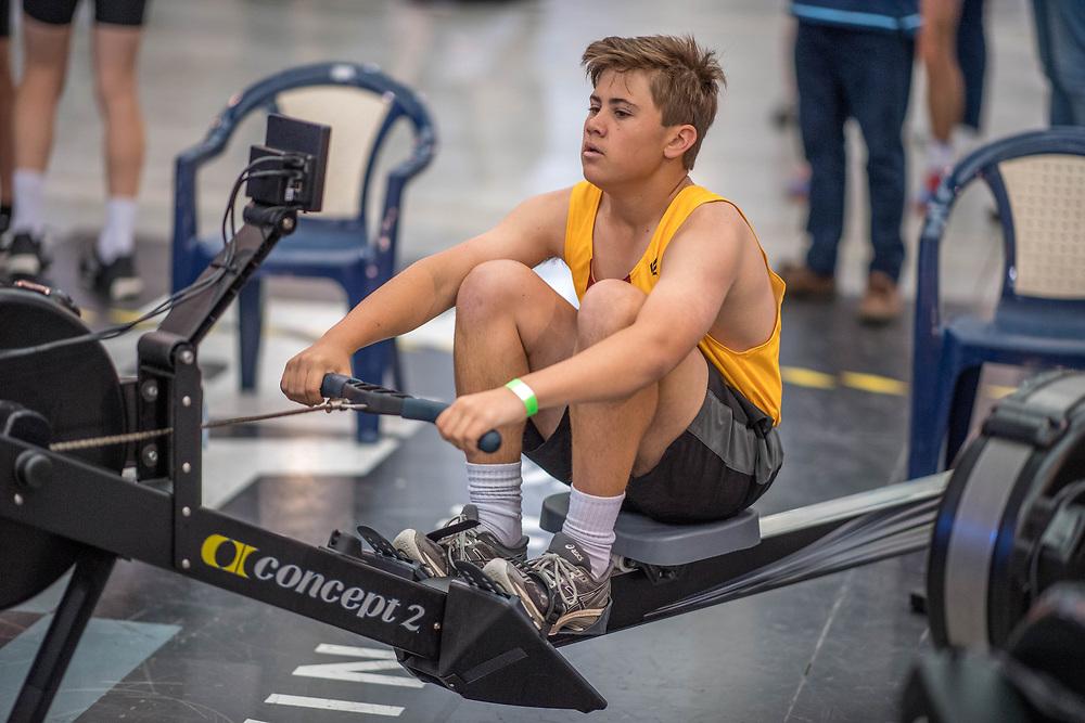 Cullan Fuller MALE HEAVYWEIGHT U15 2K Race #4  09:15am<br /> <br /> <br /> www.rowingcelebration.com Competing on Concept 2 ergometers at the 2018 NZ Indoor Rowing Championships. Avanti Drome, Cambridge,  Saturday 24 November 2018 © Copyright photo Steve McArthur / @RowingCelebration