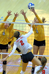 23 November 2017:  Lizzie Zaleski and Sydney Bronner defend an attack by Jaelyn Keene during a college women's volleyball match between the Valparaiso Crusaders and the Illinois State Redbirds in the Missouri Valley Conference Tournament at Redbird Arena in Normal IL (Photo by Alan Look)