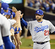 CHICAGO, IL - OCTOBER 15:  Adrian Gonzalez #23 of the Los Angeles Dodgers is introduced during pre game ceremonies prior to Game 1 of NLCS against the Chicago Cubs at Wrigley Field on Saturday, October 15, 2016 in Chicago, Illinois. (Photo by Ron Vesely/MLB Photos via Getty Images) *** Local Caption *** Adrian Gonzalez