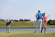 Watched by winner Bernd Wiesberger (AUT) James Morrison (ENG) completes  the Final Round in second place at the 2015 Alstom Open de France, played at Le Golf National, Saint-Quentin-En-Yvelines, Paris, France. /05/07/2015/. Picture: Golffile | David Lloyd<br /> <br /> All photos usage must carry mandatory copyright credit (© Golffile | David Lloyd)