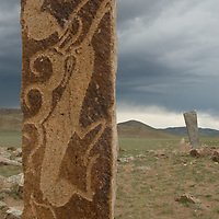 Mysterious, 2700+ year-old, Bronze Age deer stones at Ushkin Uver site near Muren, Mongolia