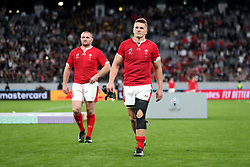 Wales' Jonathan Davies (right) and Ken Owens appear dejected as they leave the pitch after the final whistle of the 2019 Rugby World Cup bronze final match at Tokyo Stadium.