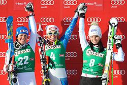 12.01.2013, Karl Schranz Abfahrt, St. Anton, AUT, FIS Weltcup Ski Alpin, Abfahrt, Damen, Podium, im Bild v.l.n.r. Anna Fenninger (AUT, Platz 3), Alice Mckennis (USA, Platz 1) und Daniela Merighetti (ITA, Platz 2) // f.l.t.r. 3th place Anna Fenninger of Austria, 1st place Alice Mckennis of the USA and 2nd place Daniela Merighetti of Italy celebrate on Podium during ladies Downhill of the FIS Ski Alpine World Cup at the Karl Schranz course, St. Anton, Austria on 2013/01/12. EXPA Pictures © 2013, PhotoCredit: EXPA/ Spiess