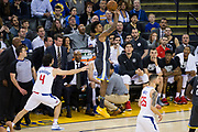 Golden State Warriors guard Nick Young (6) shoots a jumper against the LA Clippers at Oracle Arena in Oakland, California, on February 22, 2018. (Stan Olszewski/Special to S.F. Examiner)